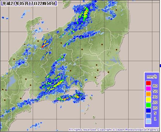気象庁,降雨レーダー,2009年5月17日