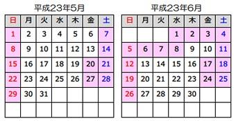 2011年5月〜2011年6月
