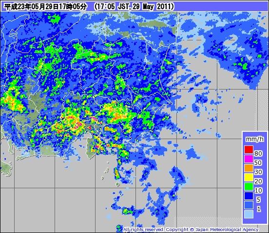 気象庁 | レーダー (平成23年5月29日17時05分)